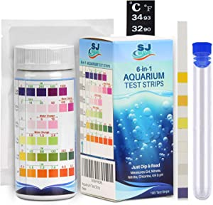 6 in 1 Aquarium Test Strips with Thermometer | Fast & Accurate Water Quality Testing Kit for Aquariums & Ponds | Monitors pH, Hardness, Nitrate, Temperature and More (100 Tests)