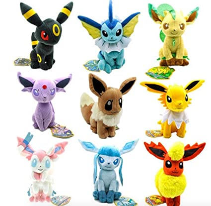 Set Of 9 New Pokemon Evolution Sit Eevee Sylveon Umbreon Leafe Plush Doll Toy