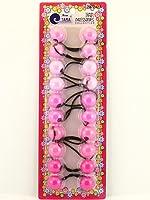 Tara Girls Twinbead Bubble Solid Ponytail Elastics - Pink - 10 Ct.