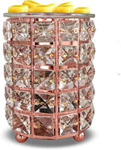 Wrought Iron Crystal Wax Melt Warmer Electric Oil Burner Wax Melt for Home, Kitchen, Living Room, Bedroom, SPA(Silver) (Rose Gold)