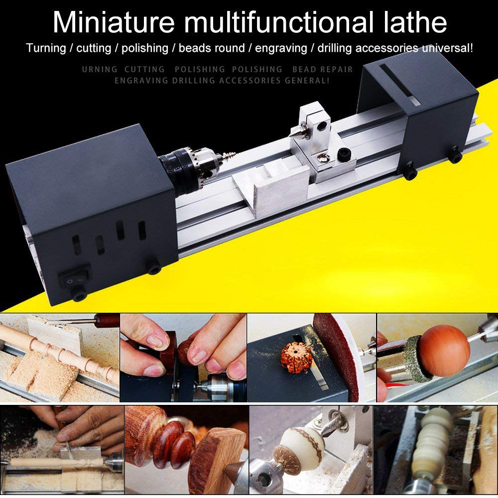 Mini DIY Woodworking Lathe Machine,Woodworking DIY Lathe Set with Power Adapter CNC Machining for Table Woodworking 24V 100W by Jiaboyu