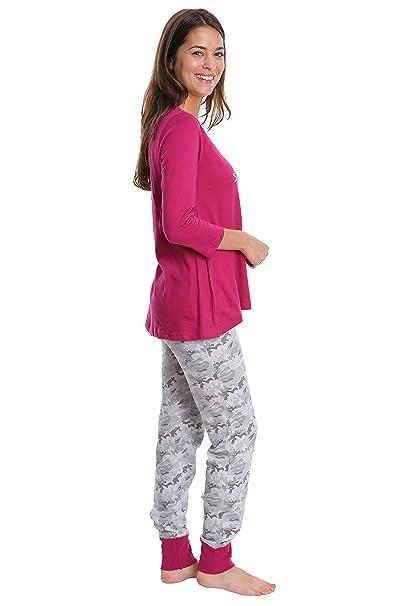WallFlower Womens Sleepwear 3/4 Sleeve Top and Jogger Set - Mulberry & Grey Camo, Medium at Amazon Womens Clothing store: