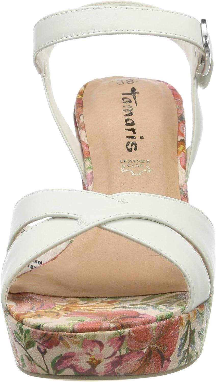Tamaris 1 1 28032 32, Sandales Plateforme Femme, Blanc (WHT
