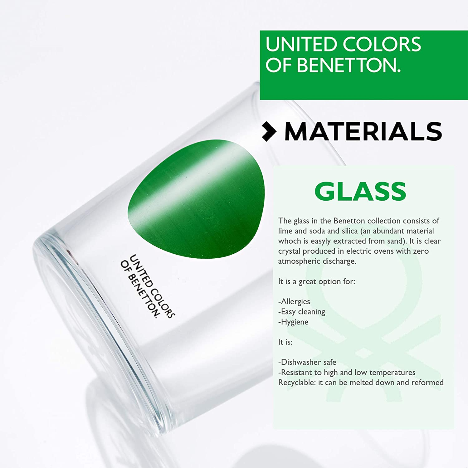 sueño divorcio granizo  UNITED COLORS OF BENETTON. BE066 Set 4pcs vasos de agua 0,345l cristal  decorado bicolor Casa Benetton: Amazon.es: Hogar