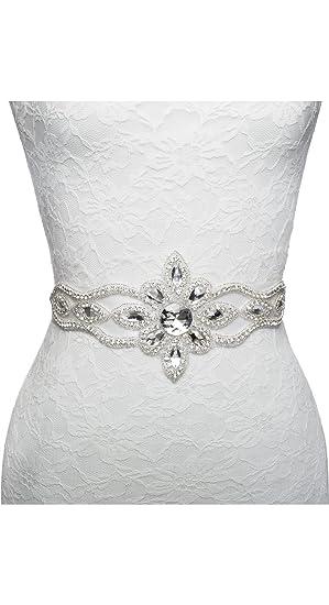 Crystal Designer Wedding Dress Bridal Sash Belt Applique Rhinestone