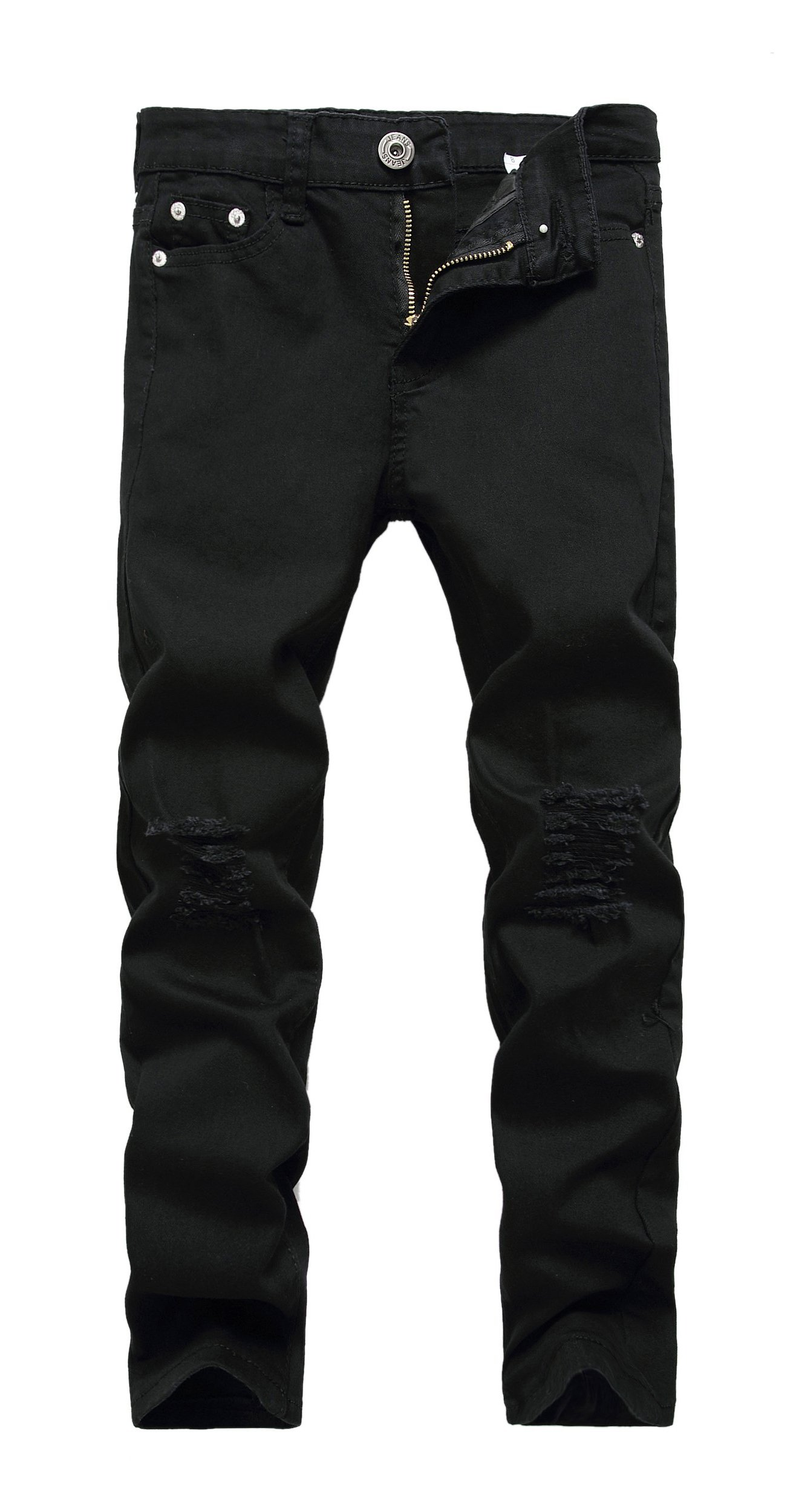 CLOTPUS Boy's Black Skinny Ripped Jeans Slim Fit Distressed Destroyed Stretch Pants Black 8