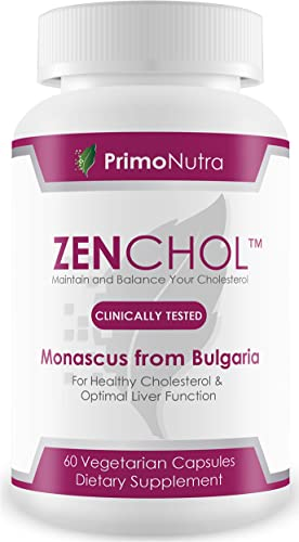 ZENCHOL 100 Natural Cholesterol Control and Antioxidant Boost Blend of Three Premium Monascus Strains One Capsule Twice Daily to Maintain Healthy Cholesterol and Triglyceride Levels