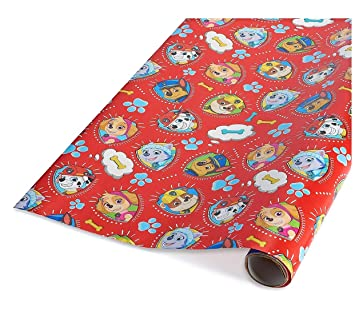 PAW Red Patrol Birthday Gift Wrapping Paper Featuring ChaseMarshallZumaRubble