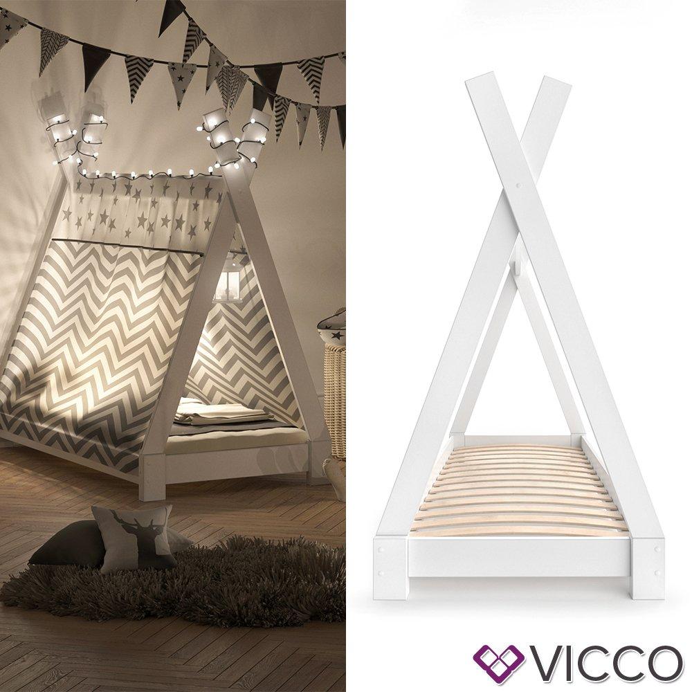 Vicco Kinderbett Tipi Kinderhaus Indianer Zelt Bett Kinder Holz Haus Schlafen Spielbett Hausbett 70x140 (Weiß)