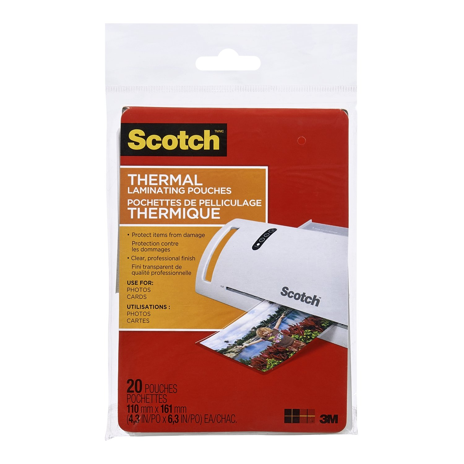 Scotch Thermal Laminating Pouches, 2.3-Inch x 3.7-Inch (Per Pouch), 5-Mil Thickness, 20 Pouches, (TP5851-20-C) 3M Canada Company