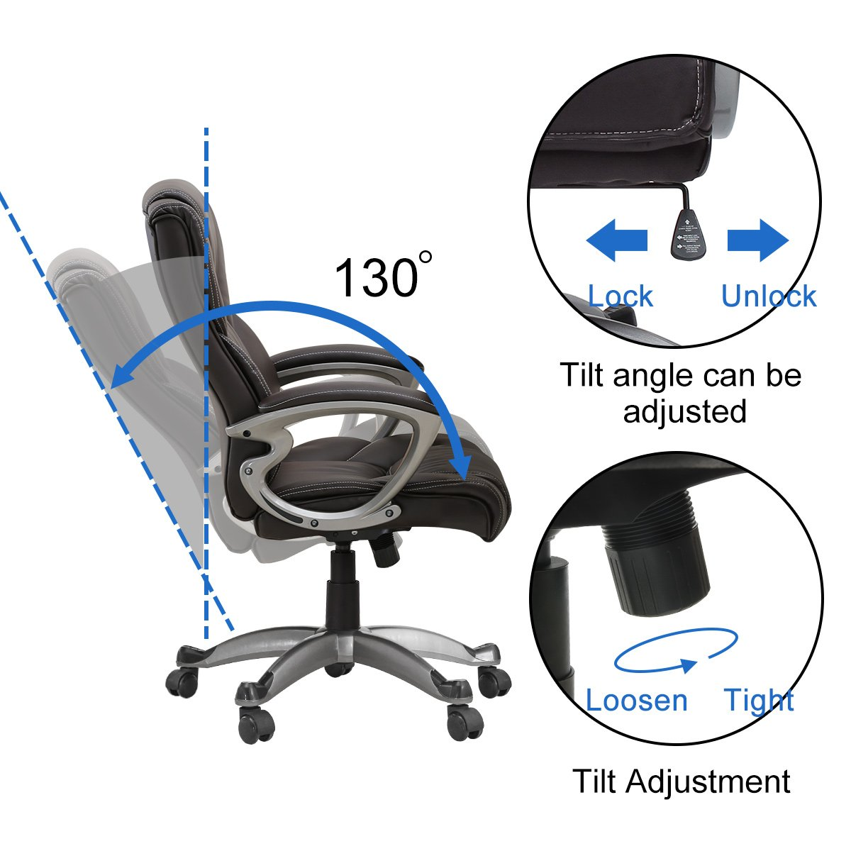 Yamasoro Leather Office Chair High Back Computer Gaming Desk Chair Executive Ergonomic Lumbar Support Brown Chairs Sofas Office Furniture Accessories
