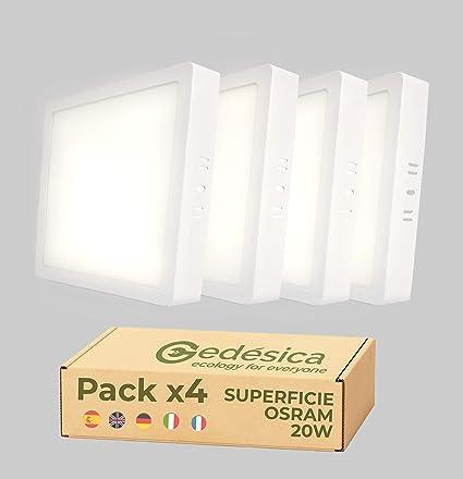 TALLA 20W. PACK X4, Lamparas de techo, Plafon Led techo, 20W 2480LM diámetro 210mm cuadrado, downlight led techo, Dormitorio, Salon, Pasillos, Baños, Clase eficiencia energetica A++ (4000K-luz blanca neutra)