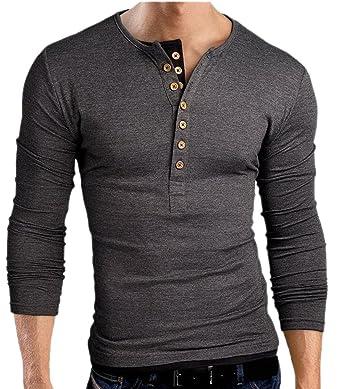 Long Sleeve Polo T Shirts for Men Casual Henley Shirt Plain Button ...