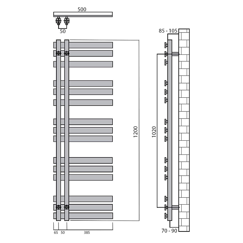 Design Badheizk/örper Paneel mit Anschluss links oder rechts 1000 x 500, Anthrazit Heizk/örper mit versetztem Mittelanschluss 307 Watt nach EN442