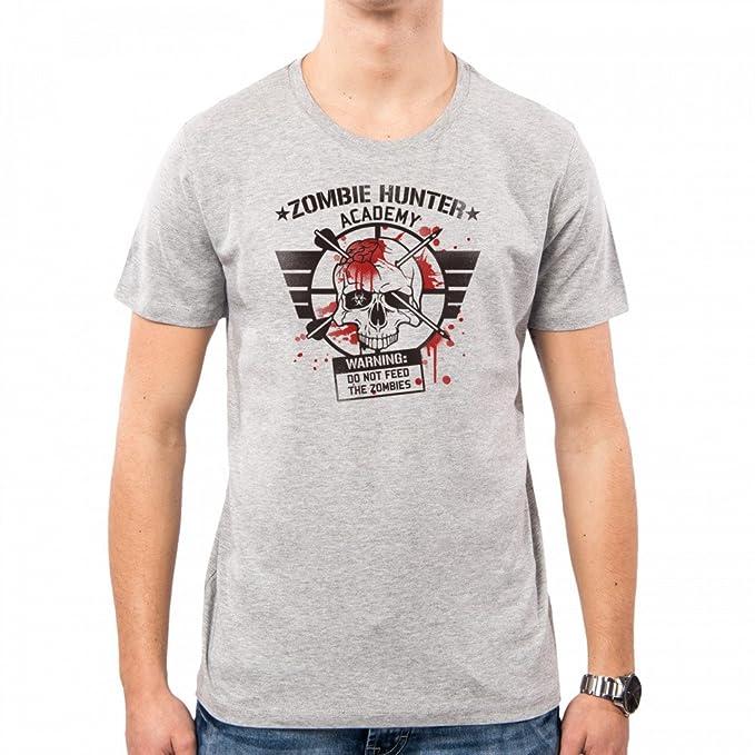 PacDesign Camiseta Hombre Zombie Hunter Academy Skull Warning Walking Dead Nemimakeit Nm0134a: Amazon.es: Ropa y accesorios