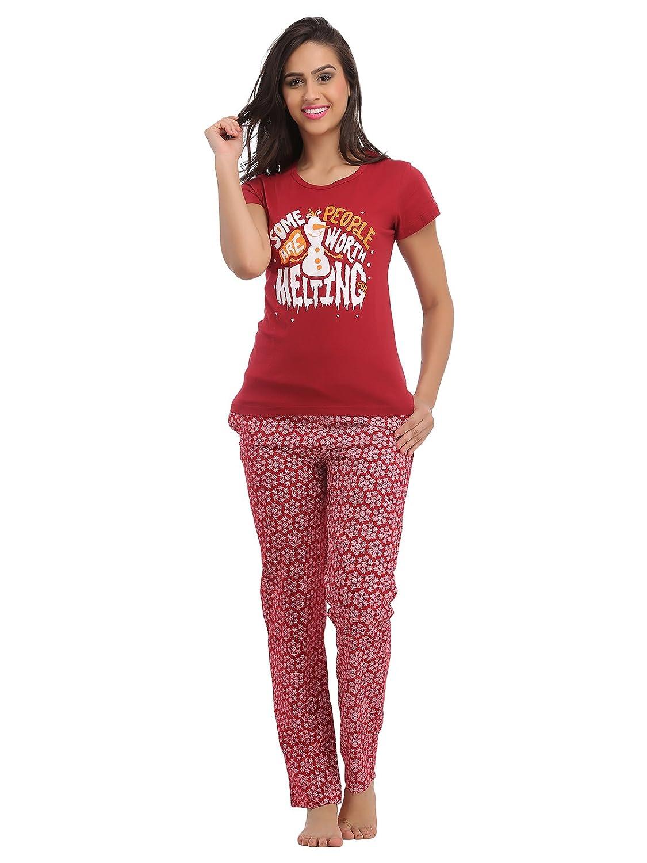 Clovia Cotton Graphic T-Shirt & Full Length Printed Pyjama - Maroon