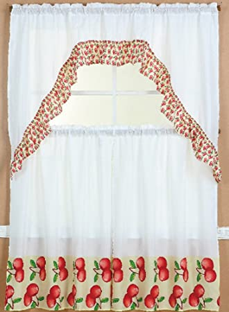 3 Piece Kitchen Curtain Set 2 Tiers And 1 Valance Apple