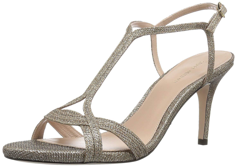 Stuart Weitzman Women's Sunny Heeled Sandal Platinum Noir 7.5 Medium US