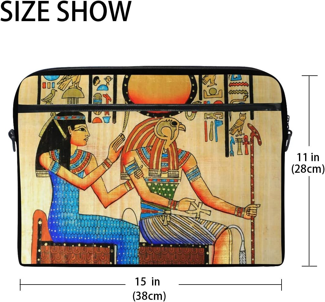 FICOO 15 Inch Laptop Sleeve Case Bag Ancient Egyptian King Queen Messenger Bag for Women Men Computer Carrying Case Fits 15-15.4 Inch Notebook