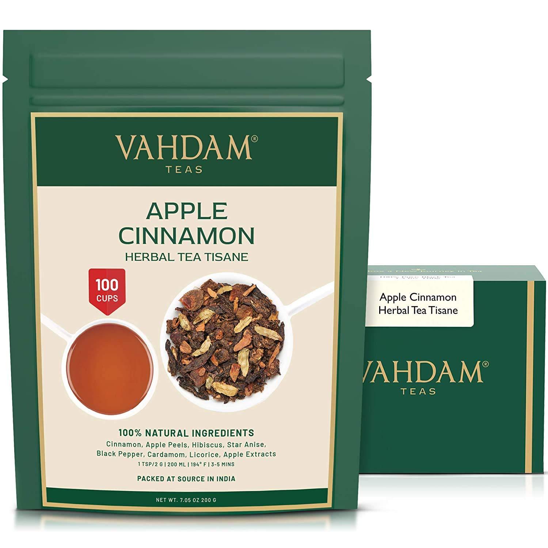 VAHDAM's Apple Cinnamon Herbal Tea Tisane - Set of 2 (3.5oz each)   Apple + Cinnamon + Hibiscus + Pepper & more   TROPICAL & FRUITY ICED TEA   100+ Cups - Brew Hot or Cold   100% Natural Ingredients