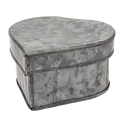 Merveilleux Stonebriar Aged Galvanized Metal Heart Shaped Storage Container With  Removable Lid, Rustic Keepsake Trinket Box