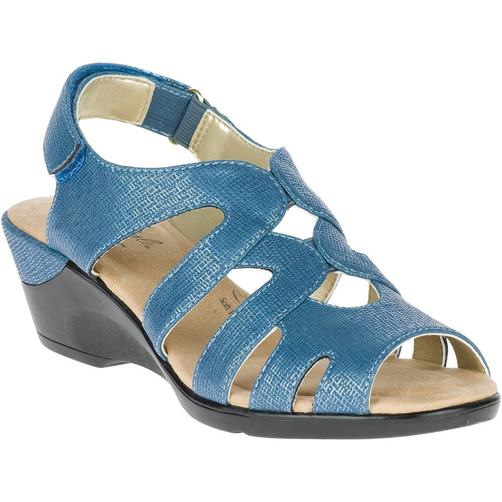Soft Style by Hush Puppies Women's Patsie Wedge Sandal, Mid Blue Cambric, 8.5 E US