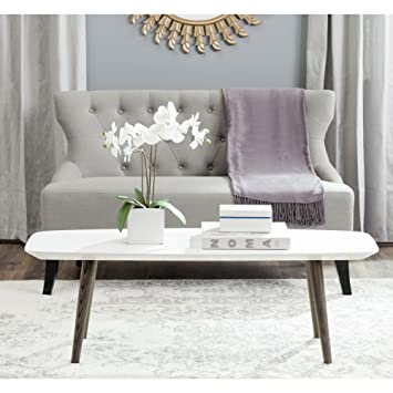 Superior Safavieh Home Collection Josiah Mid Century Modern White And Dark Brown Coffee  Table