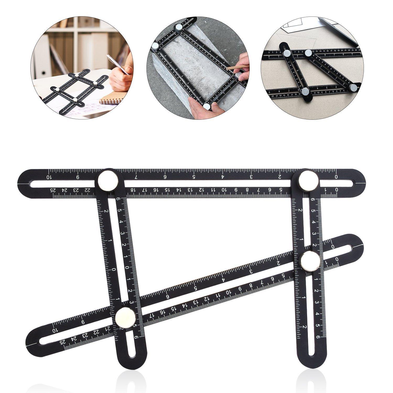 Multi Angle Measuring Ruler- Full Metal Multi Angle Measuring Ruler Angleizer Template Tool- Aluminum Alloy Multi Functional Ruler- Storage Bag Included-By Apex Capital