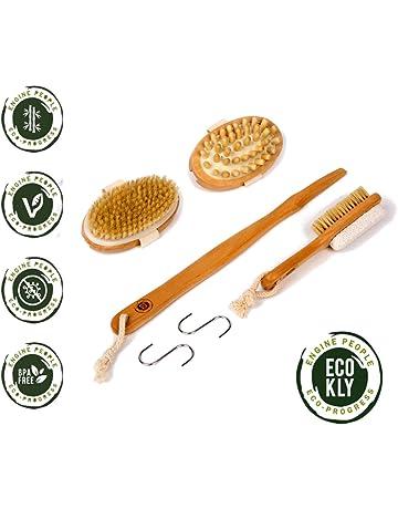 Cepillo corporal exfoliante natural con cerdas naturales, set de 3 piezas para espalda, masajeador