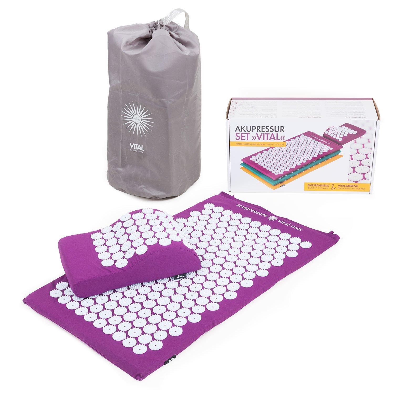 VITAL Akupressurmatten-Set (aubergine): Akupressurmatte (74 x 44cm) & Akupressurkissen im günstigen Set, vitalisierende Matte für den Rücken und Kissen für den Nacken, wohltuende Entspannungsmatte & Kissen product image