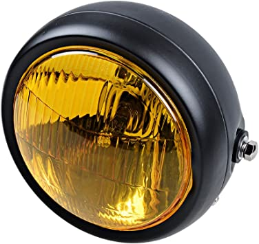Side Mount Retro Vintage Cafe Racer Amber Headlight Lamp Choppers Scooter GN