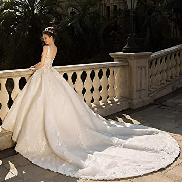 WFL Vestido de Novia Novia Casado con Cuello en v Princesa sueño Gran Cola Lujo Sen
