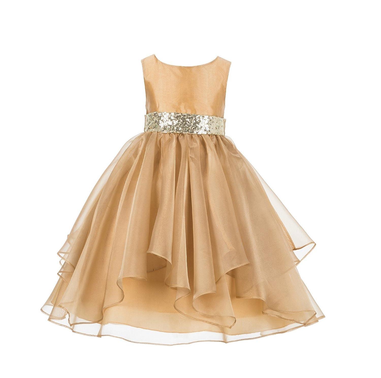 ekidsbridal Asymmetric Ruffled Organza Sequin Flower Girl Dress Christening Dresses 012S