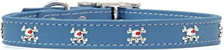 product image for Rockin Doggie Skull Rivets Leather Dog Collar, 1 by 20-Inch, Blue