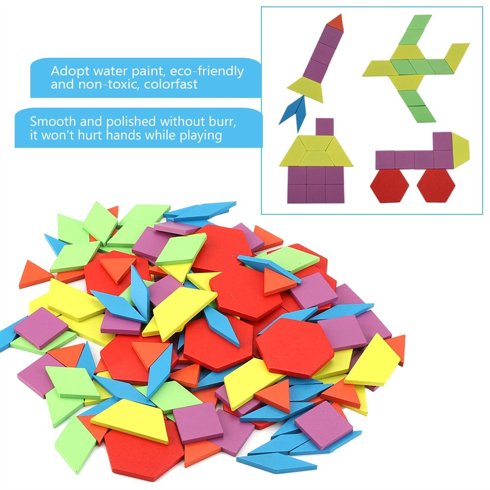 Fdit Geometric Tangram Shape DIY Jigsaw Puzzle Board Set Colourful Wooden Bricks Creative Early Learning Educational Toy Box Kits Birthday Gifts for Baby Kids Toddlers Childen