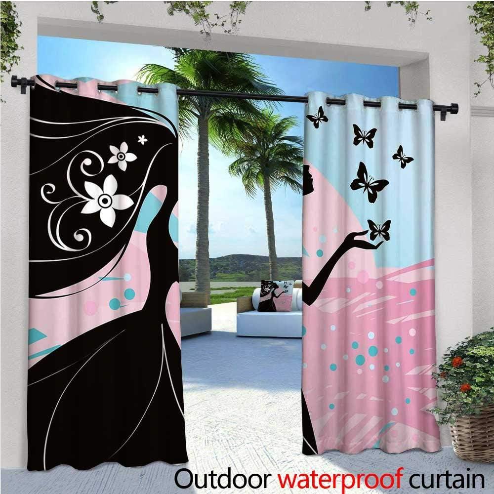 Spring Outdoor- Cortina de privacidad de pie para exteriores con siluetas de mariposas pequeñas con follaje flora y fauna ilustración para porche delantero cubierta patio cenador Dock playa hogar gris pálido gris