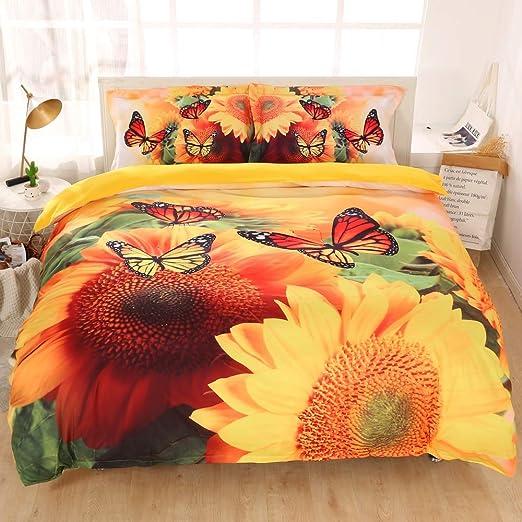 3D Sunflower Printed 4PCS Bedding Set 100/% Cotton Duvet Covers Bed Sets Queen 19