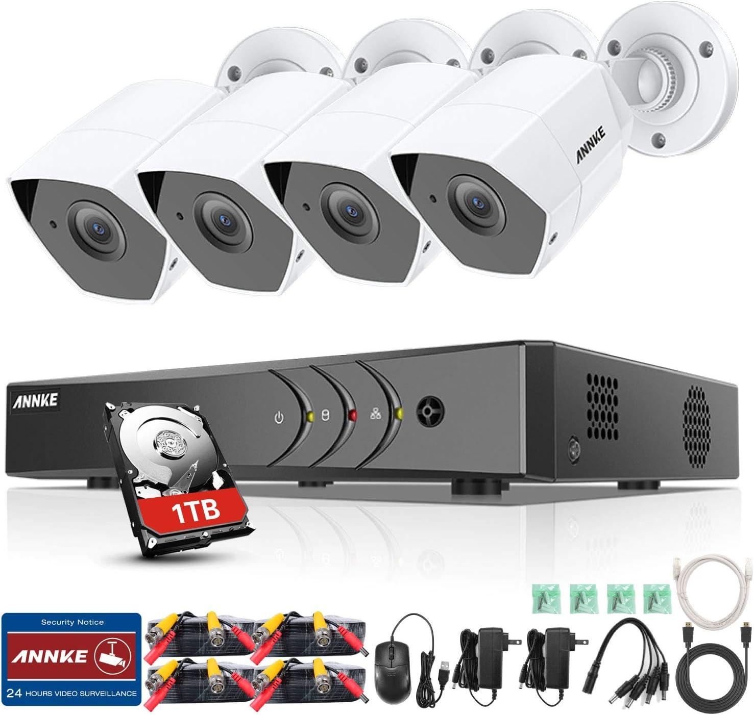 ANNKE 3MP Kit de 4 Cámaras de Seguridad 8CH DVR ( CCTV H.265+ DVR 8 Canales 3MP y Cámaras 1920*1536P Metal IP66 Impermeable Exterior y Interior Visión Nocturna Rápido Detección de Movimiento-1TB