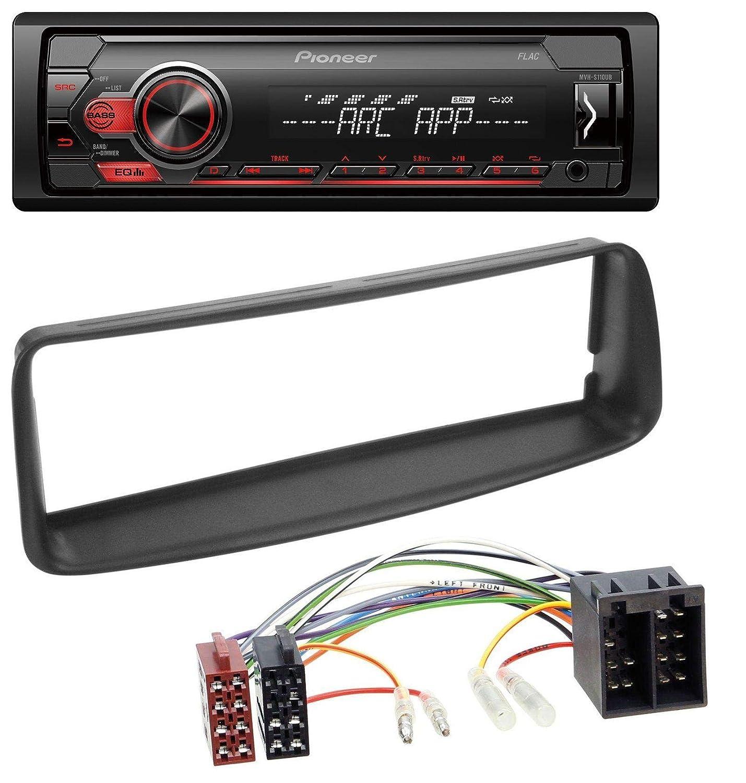 caraudio24 Pioneer MVH-S100UB USB AUX MP3 1DIN Autoradio f/ür Peugeot 206 ab 1998