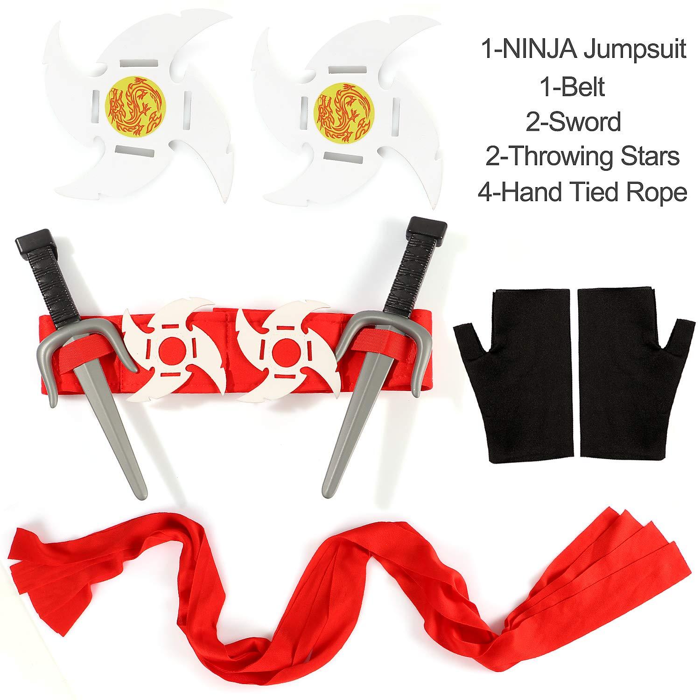 Tacobear Costume Ninja Bambino Ninja Abbigliamento Costume da Festa di Halloween per Ragazzo 3-12 Anni 10-12 XL
