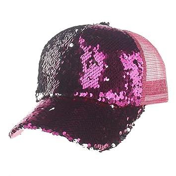 Gorra de béisbol, meibax Unisex camiseta lentejuelas Cap Moda sombrero de béisbol mujeres y hombres gorra sol vacaciones sombrilla de Sun Hat Rosa caldo: ...