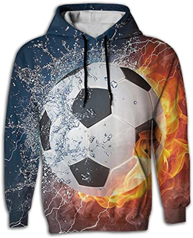 Zip Up Hoodie Soccer Ball on Fire Hooded Sweatshirt for Men