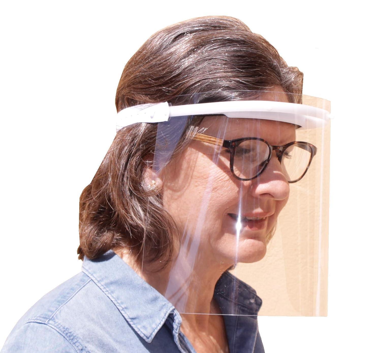 KMINA PRO - Pantalla Protección Facial Transparente (Pack x10 uds), Visera Protección Facial, Protector Facial con Separación y Agujeros de Ventilación, Pantalla Protectora Cara, Fabricado en España
