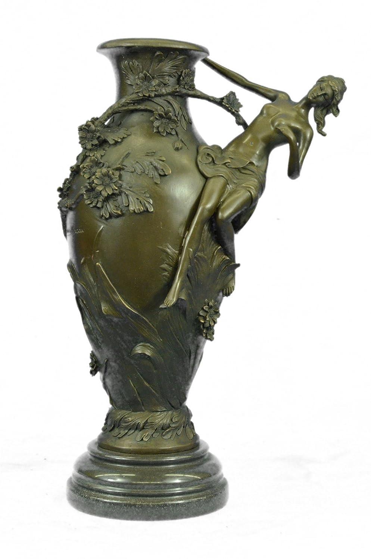 手作りのブロンズ彫刻像はモローヌードガール花花瓶置物ホット手作りの置物-UKep-668-インテリアグッズギフトをキャスト署名しました 送料無料 B074SZ6RXR