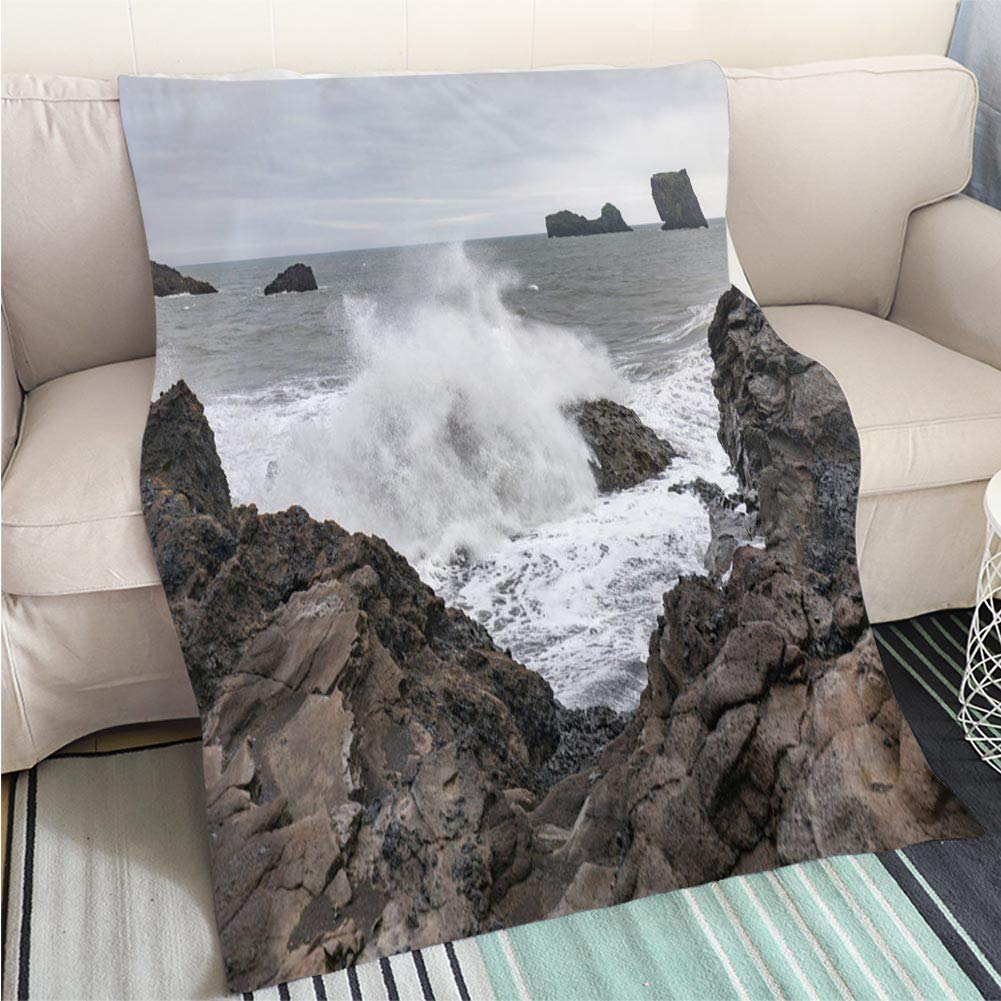 color19 59 x 80in BEICICI Art Design Photos Cool Quilt The Wave in The Indian Ocean Fun Design All-Season Blanket Bed or Couch
