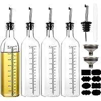 Paquete de 4 botellas dispensadoras de aceite de oliva YULEER, juego de dispensador de aceite transparente y vinagre…
