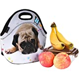 iColor Cute Pug Boys Girls Kids Neoprene Sleeve Insulated Lunch Tote Pouch Container Portable Cooler Waterproof Picnic Protector Case Soft Office School Carry Box Travel Outdoor Handbag Food Storage