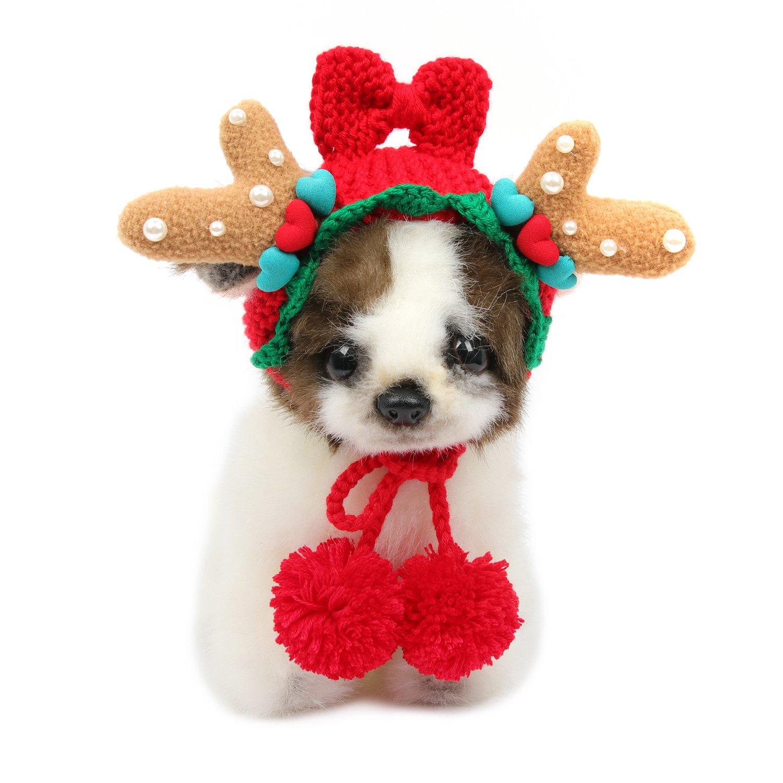 HBuir Handmade DIY Reindeer Pet Dog Santa Birthday Hat Christmas Gifts for Cat
