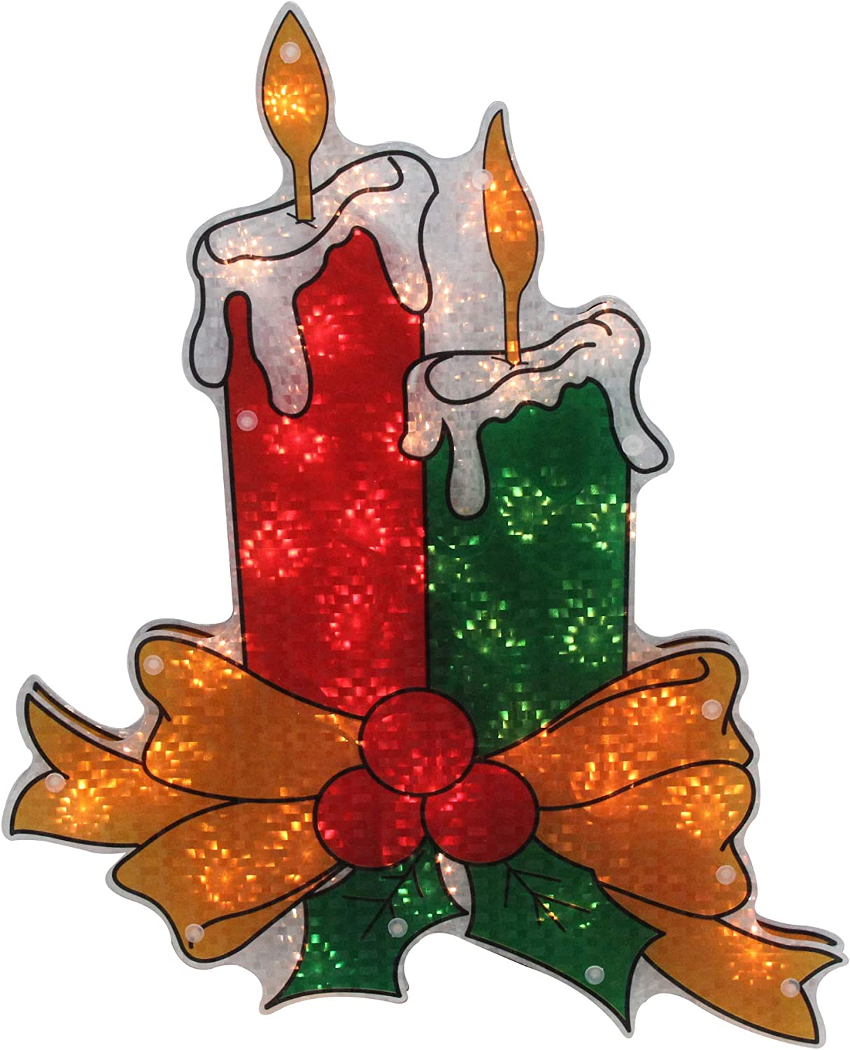 """Northlight 17"""" Lighted Holographic Candle Christmas Window Silhouette Decoration"""