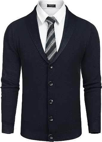 COOFANDY Men's Shawl Collar Cardigan Sweater Slim Fit Button Down Cardigan